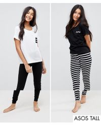 ASOS - 2 Pack Stripe And Dreamy Embroidered Legging Pyjama Set - Lyst