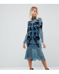 Hope and Ivy - Hope & Ivy Long Sleeve Lace Dress With Velvet Applique Detail - Lyst