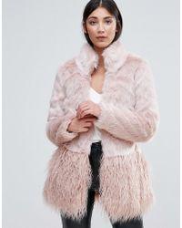Lipsy - Faux Fur Panelled Coat - Lyst