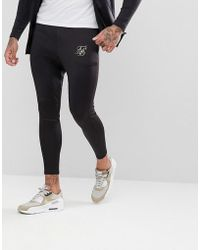 SIKSILK - Skinny Track Joggers In Black With Gold Logo - Lyst
