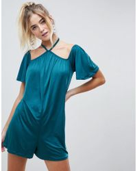 6867ff6b814 ASOS - Playsuit With Halterneck And Flutter Sleeve In Slinky - Lyst