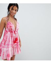 e6501a9ec50a ASOS - Asos Design Petite Tie Dye Tassel Trim Beach Dress - Lyst