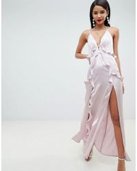 ASOS - Deep Plunge Ruffle Front Satin Maxi Dress With Open Back - Lyst