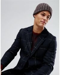 ASOS - Fisherman Beanie In Purple And Grey Mix - Lyst