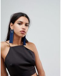 ASOS - Statement Jewel Triangle And Tassel Earrings - Lyst