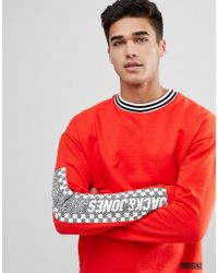 Jack & Jones - Originals Long Sleeve T-shirt With Checkerboard Sleeve Print - Lyst