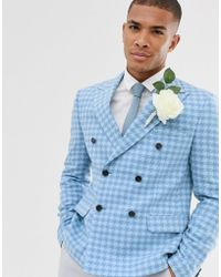 ASOS Wedding Slim Crop Double Breasted Blazer With Wool Mix Large Scale Houndstooth In Blue