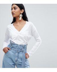 Mango - Organic Cotton Long Sleeve Top In White - Lyst