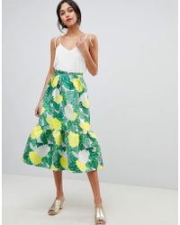 ASOS - Pep Hem Midi Skirt In Bloom Jacquard - Lyst