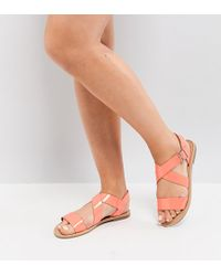 eec43b0dccf4 ASOS - Asos Feliz Wide Fit Flat Sandals - Lyst