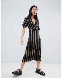 Pull&Bear - Button Front Dress In Stripe - Lyst