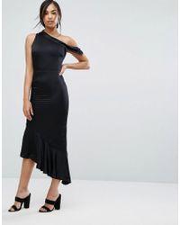 Lavish Alice - Satin One Shoulder Asymmetric Hem Dress - Lyst