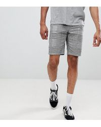 ASOS - Design Tall Slim Shorts In Monochrome Check With Side Taping - Lyst