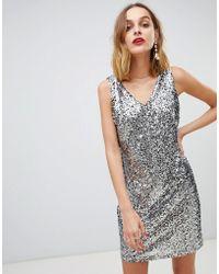 Pieces - Sequin V Neck Shift Dress - Lyst