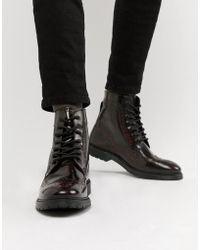 ASOS - Lace Up Brogue Boots In Burgundy Leather With Ribbed Sole - Lyst