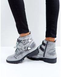 London Rebel - Metal Trim Buckle Biker Boots - Lyst