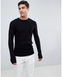 French Connection - Muscle Fit Crew Neck Rib Jumper - Lyst