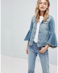 Pepe Jeans - Ruffle Sleeve Denim Jacket - Lyst