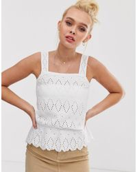 Pimkie - Broderie Anglaise Cami Top In White - Lyst