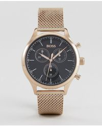 BOSS - 1513548 Companion Chronograph Mesh Watch In Rose Gold - Lyst