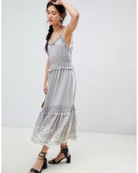 Moon River - Embroidered Midi Dress - Lyst