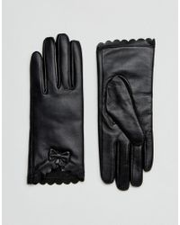 Barneys Originals - Barneys Real Leather Gloves With Scallop And Bow Detail - Lyst