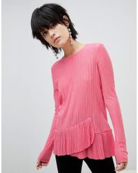 Pieces - Long Sleeve Frill Top - Lyst