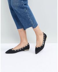 Miss Kg - Morgan Pearl Studded Pointed Ballet Pumps - Lyst