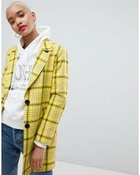 ASOS - Design Check Cropped Slim Coat - Lyst