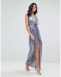 dae532fa0e5 ASOS - Asos Metallic Cami Twist Front Maxi Dress - Lyst