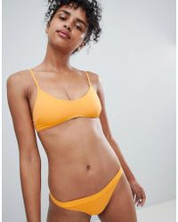 Monki - Orange Tie Detail Bikini Bottom In Orange - Lyst