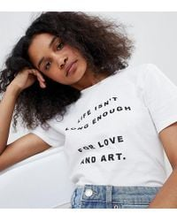 Adolescent Clothing - T-shirt With Love And Art Slogan - Lyst
