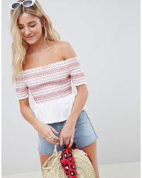 ASOS - Off Shoulder Top With Shirring And Contrast Stitch - Lyst