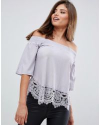AX Paris - Bardot 3/4 Sleeve Top With Lace Detail - Lyst