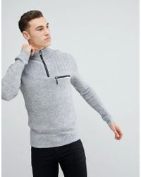 River Island | Funnel Neck Sweater With Zip Detail In Gray | Lyst