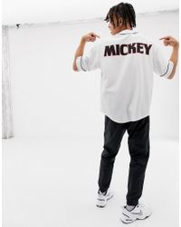 Bershka - Mickey Mouse Baseball Top In White With Print On Back - Lyst