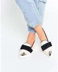 Miss Kg - Lisa Cream Slip On Silver Toe Cap Skater Shoes - Lyst