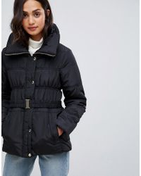 New Look - Short Ruched Padded Coat - Lyst