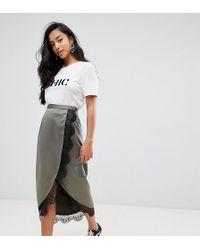 2c9f23851b ASOS - Asos Design Petite Wrap Midi Skirt With Lace Trim - Lyst