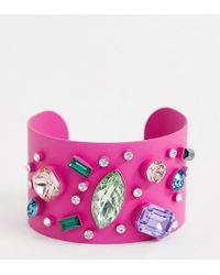 ASOS - Asos Design Curve Exclusive Cuff Bracelet In Colour Pop Design With Rainbow Jewels - Lyst