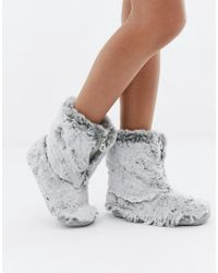Bedroom Athletics - Cole Short Faux Fur Slipper Boot In Gray - Lyst