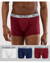 Hollister - 3 Pack Trunks Logo Contrast Waistband In White/navy/red - Lyst