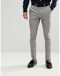 New Look - Skinny Fit Suit Trousers In Grey Houndstooth - Lyst