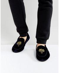Dunlop - Embrioded Loafer Slippers Blue Velvet - Lyst
