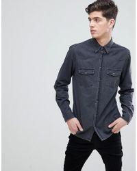Mango - Man Slim Fit Denim Shirt In Grey - Lyst