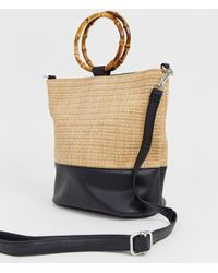 New Look - Bamboo Handle Bucket Bag In Stone - Lyst