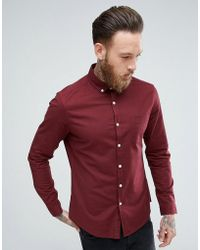 ASOS - Casual Slim Oxford Shirt In Burgundy - Lyst