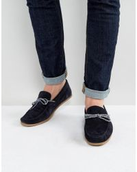 ASOS - Driving Shoes In Navy Suede With Contrast Lace - Lyst