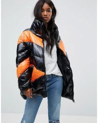 ASOS - High Shine Puffer Jacket In Colourblock - Lyst
