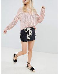 Hollister - Destroyed Denim Skirt - Lyst